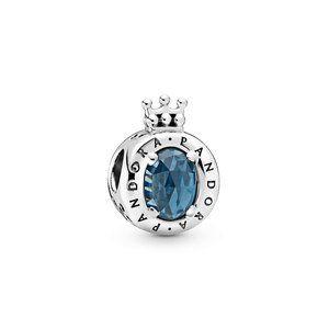 ♉Pandora  Blue Sparkling Crown O Charm